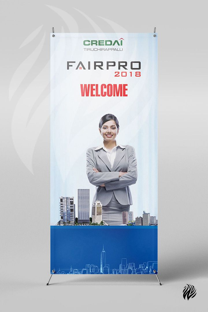 CREDAI-standing-banner-advertising-services-trichy-white-and-black