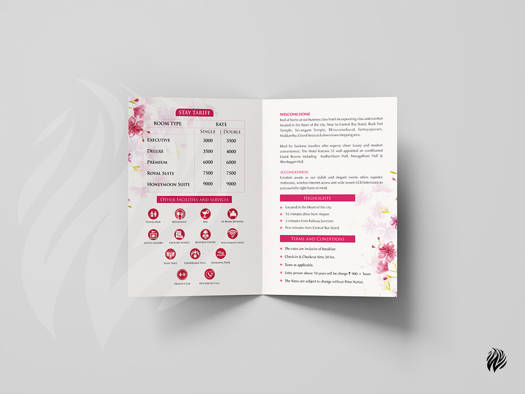 Hotel-blossoms-brochure-design-services-trichy-white-and-black