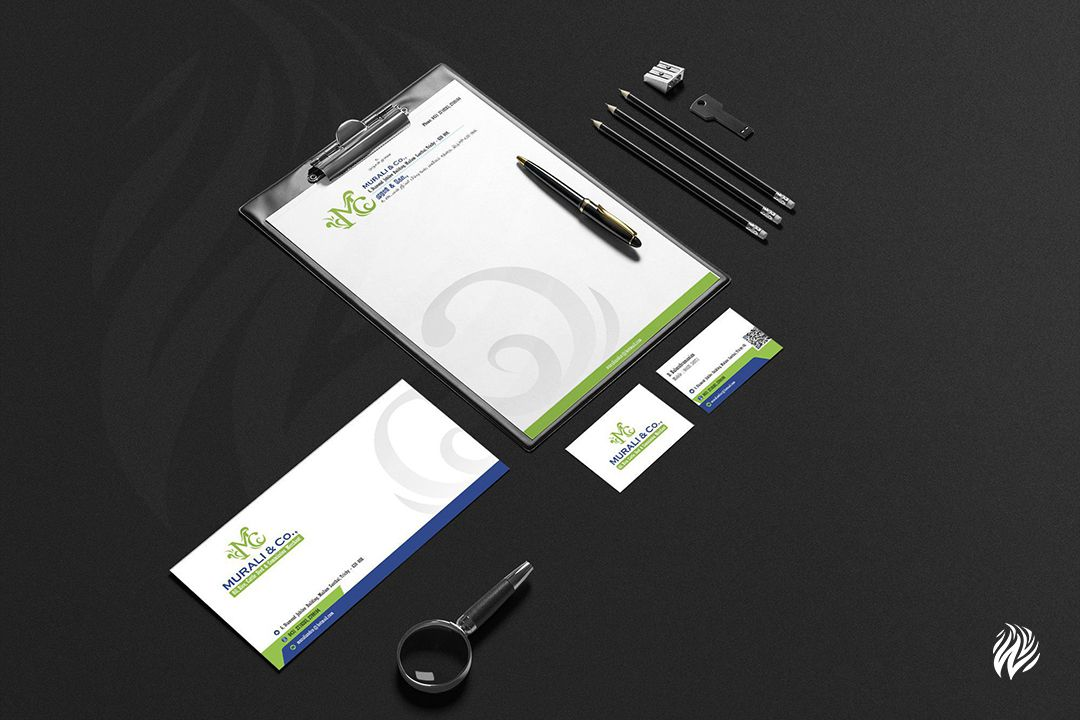 Murali-and-Co-Stationery-Kit-Brand-Identity-White-and-Black-Trichy