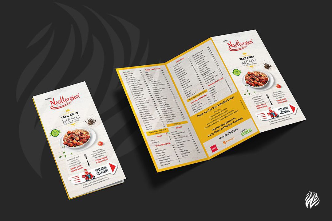 Naattarasan-tri-fold-menu-card-design-services-in-trichy-white-and-black