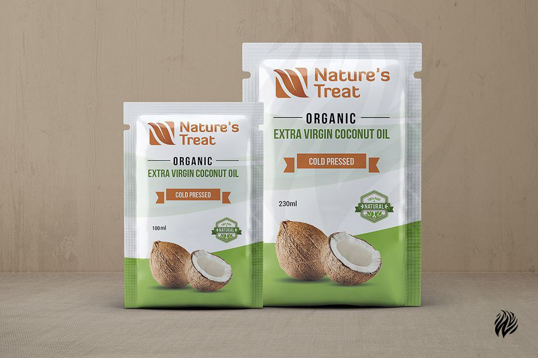 Nature's-Treat-oil-pouch-packaging-design-services-in-trichy-white-and-black